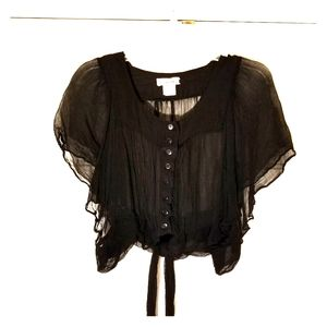 FRENCHI Black size XL  shrug 100% viscose, sheer